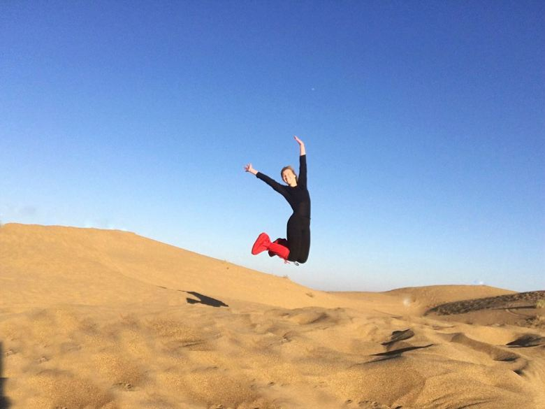jumping in desert